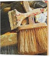 Paintbrushes Wood Print by Mamie Gunning