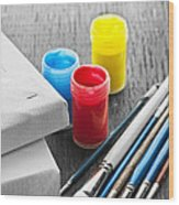 Paintbrushes With Canvas Wood Print