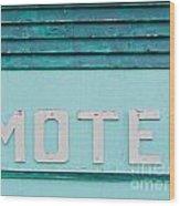 Painted Blue-green Historic Motel Facade Siding Wood Print