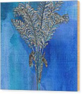 Painted Blue Palm Wood Print