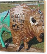 Painted Buffalo Wood Print