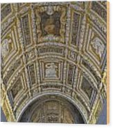 Painted Ceiling Of Staircase In Doges Palace Wood Print by Sami Sarkis