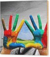 Painted Colorful Hands Showing Way To Colorful Happy Life Wood Print