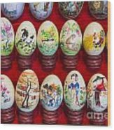 Painted Eggs In China Market Wood Print