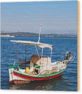 Painted Fishing Boat In Corfu Greece Wood Print