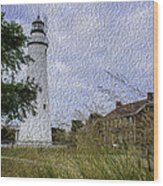 Painted Fort Gratiot Light House Wood Print