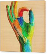 Painted Hand With Ok Sign Wood Print