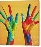 Painted Hands Wood Print