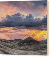 Painted Hills In Oregon Panorama At Sunset Wood Print