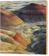 Painted Hills, Sunset, John Day Fossil Wood Print