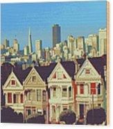 Alamo Square San Francisco - Digital Art Wood Print