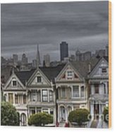 Painted Ladies Ready For The Rain Wood Print