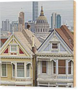 Painted Ladies Row Houses By Alamo Square Wood Print