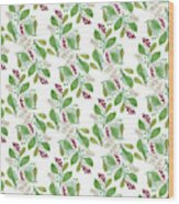Painted Nature Coorsinating Foliage Leaves Pattern Wood Print