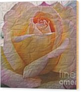 Painted Paper Rose Wood Print