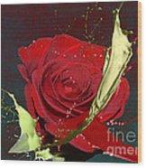Painted Rose Wood Print by M Montoya Alicea