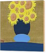 Painted Sunflowers Wood Print