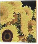 Painted Sunflowers Wood Print