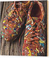 Painted Tennis Shoes Wood Print