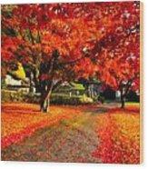 Painterly Autumn Path Wood Print