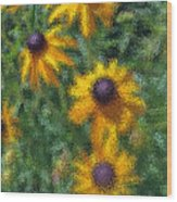 Painterly Flowers Wood Print