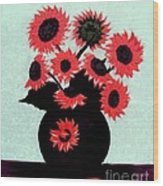 Painterly Red Sunflowers With Purple Wood Print