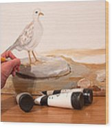 Painting A Dove Wood Print