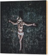 Painting Female Crucifix I Wood Print
