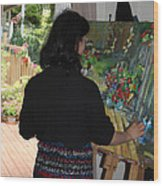 Painting My Backyard 2 Wood Print by Becky Kim