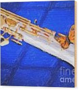 Painting Of A Soprano Saxophone And Butterfly 3352.02 Wood Print