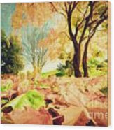 Painting Of Autumn Fall Landscape In Park Wood Print