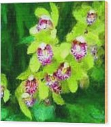 Painting Of Green Orchids Wood Print