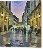 Old City Of Corfu During Dusk Time Wood Print