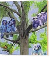 Painting Of Owls And Birds Nest In Tree Wood Print
