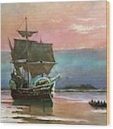 Painting Of The Ship The Mayflower 1620 Wood Print