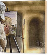 Painting The Colosseum Wood Print by Stefano Senise