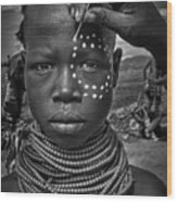 Painting The Face Of A Karo Tribe Girl (omo Valley-ethiopia) Wood Print