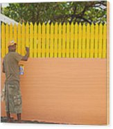 Painting The Fence Wood Print