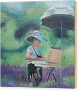 Painting The Lavender Fields Wood Print