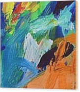 And God Said Let There Be Light - Genesis1 3 - Blue Abstract Expressionist Painting Wood Print