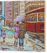 Paintings Of Fifties Montreal-downtown Streetcar-vintage Montreal Scene Wood Print
