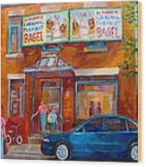 Paintings Of Montreal Fairmount Bagel Shop Wood Print by Carole Spandau
