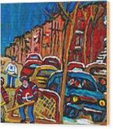 Paintings Of Montreal Hockey City Scenes Wood Print
