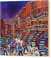 Paintings Of Montreal Hockey On Du Bullion Street Wood Print