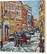 Paintings Of Old Port Quebec Vieux Montreal Memories Rue Notre Dame Snowscenes Art Carole Spandau Wood Print