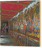 Paintings On Wall Of Middle Court Hallof Grand Palace Of Thailand Wood Print