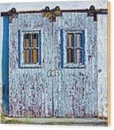 Painty Flakey Garage Doors Wood Print