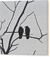 Pair Of Birds In Black Wood Print