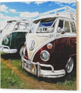 Pair Of Busses Wood Print
