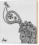 Paisley Peacock Wood Print